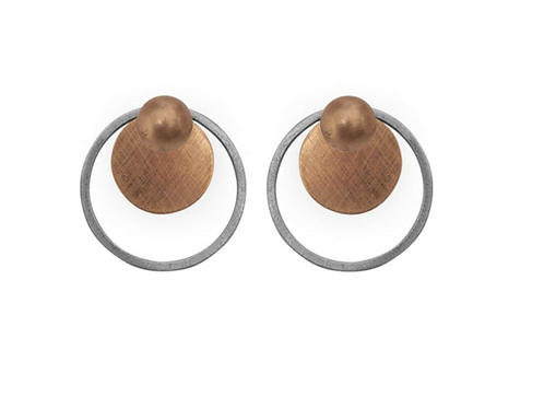 Dansk: Mixed Metal over Copper Front/Back Earrings