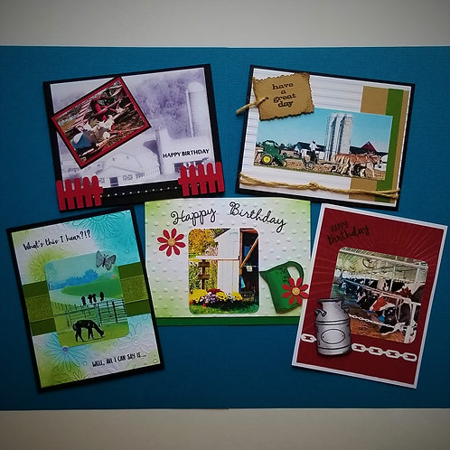 AROUND THE FARM Birthday  5-pack (one of each card)