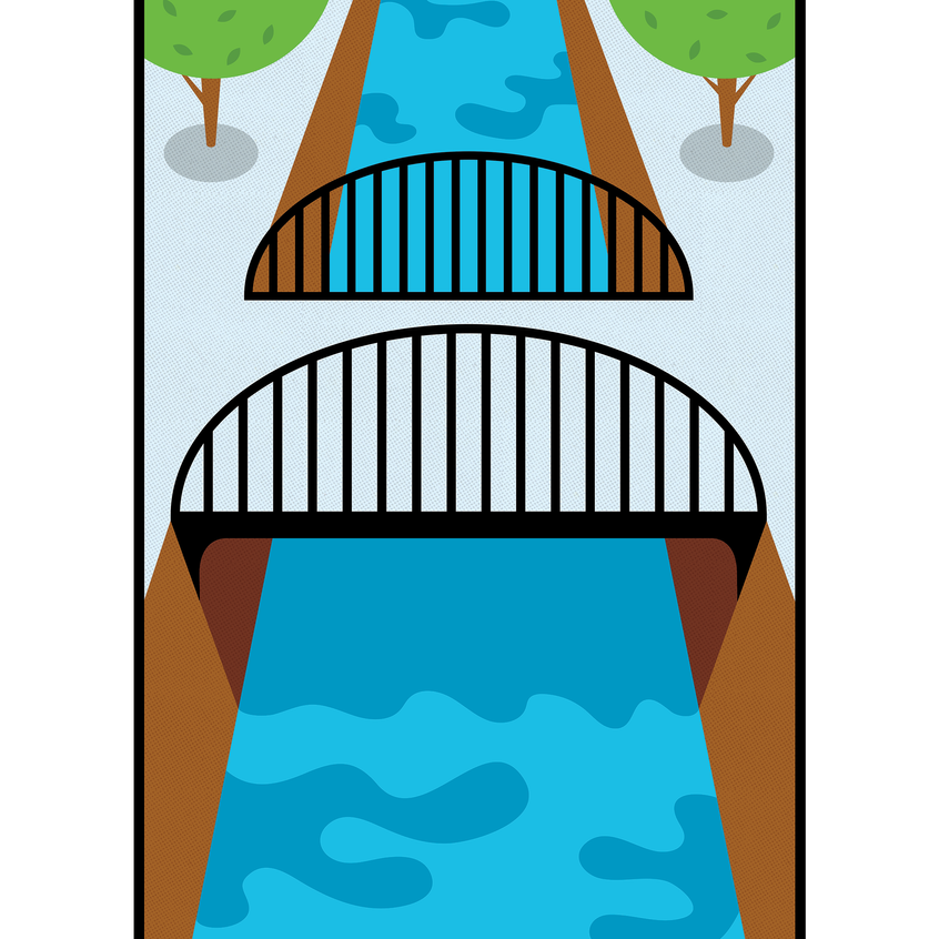 Pixel Black River Icon Design
