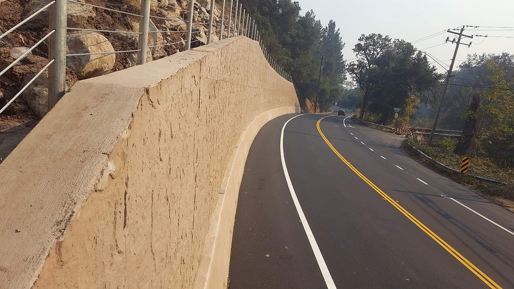 Recently constructed retaining wall and roadway repair along the Silverado Trail in Napa County