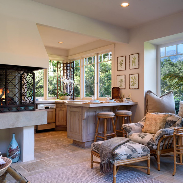 Pool Cabana with Kitchen and Fireplace