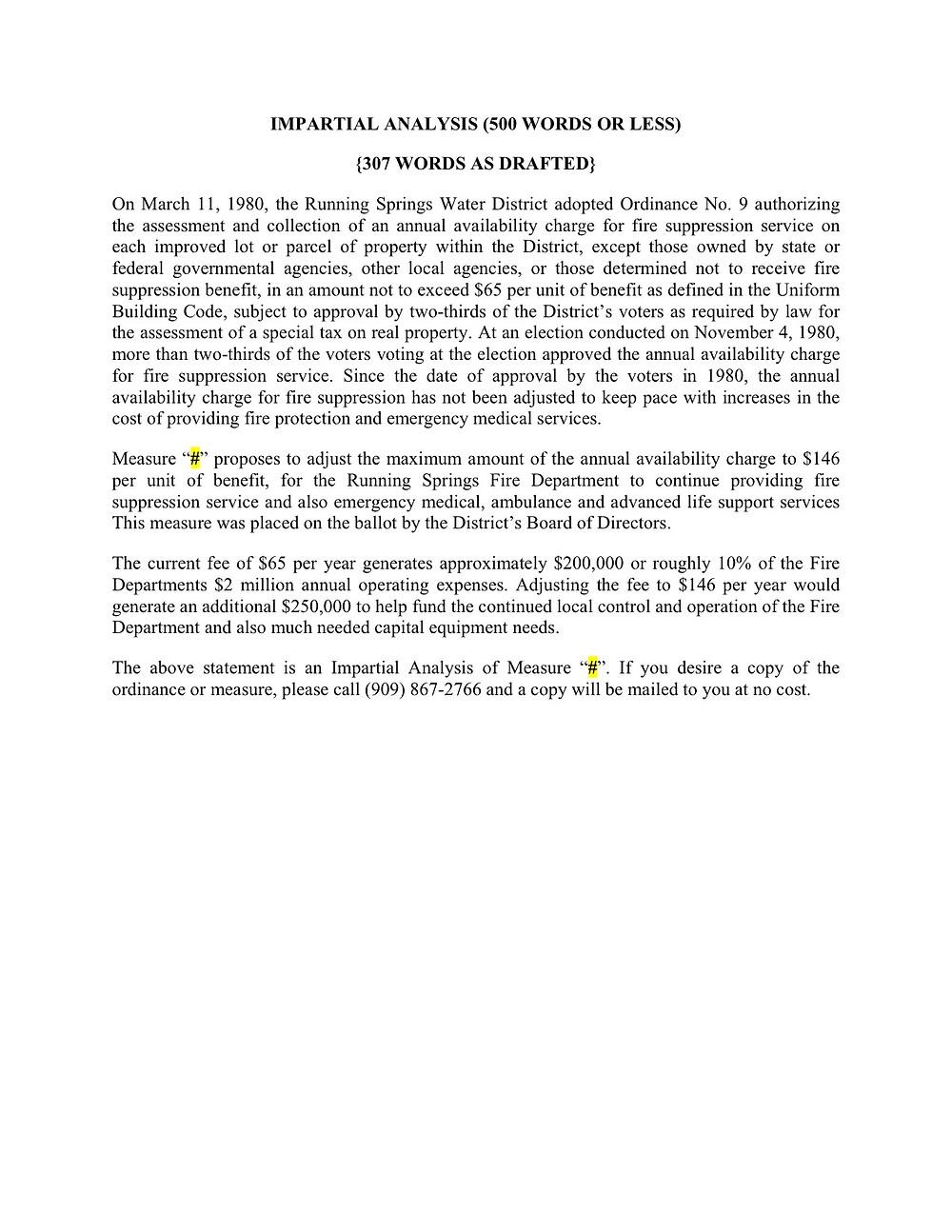 Impartial Analysis  - MEASURE B
