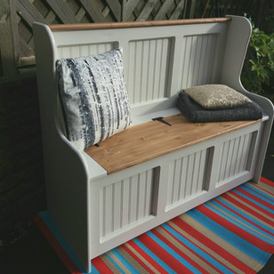 Monks bench with storage