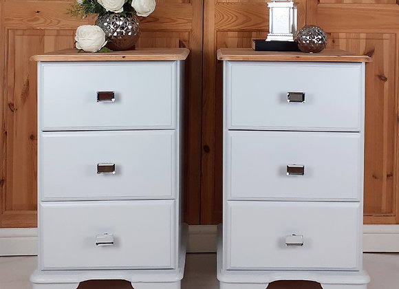 Pair of three drawer bedside/storage chests