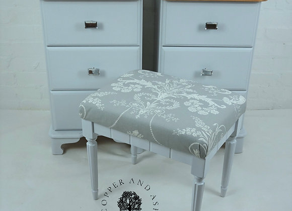 Vintage stool painted grey and fully reupholstered in Laura Ashley fabric