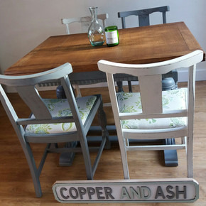 Draw leaf dining table and chairs
