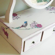 Painted and decoupaged dressing table mirror
