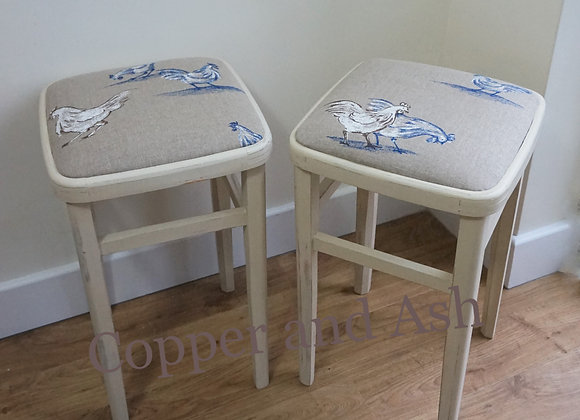 Farmhouse chic stools with french linen seat pads