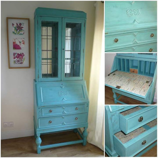 Striking turquoise bureau storage
