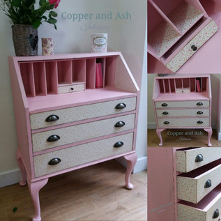 Soft pink and decoupage bureau created for charity fundraiser