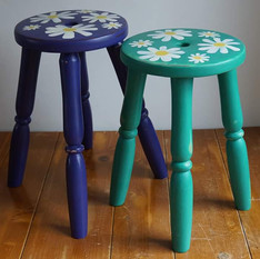 Pair of stools with handpainted daisy design