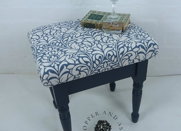 Dressing table stool dark blue with William Morris style fabric