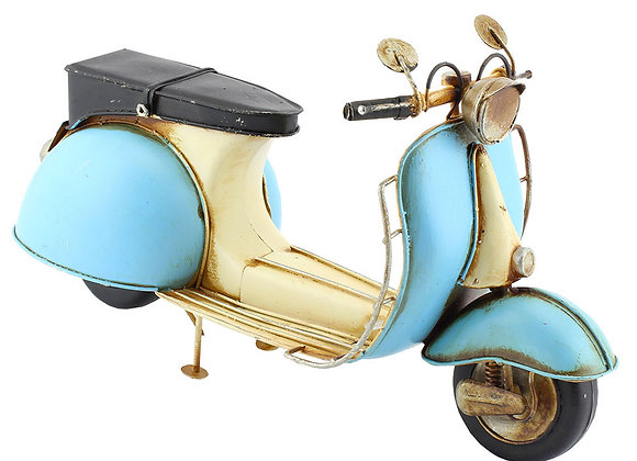 Blue and White tin model scooter