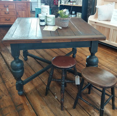 Large draw leaf table and stools