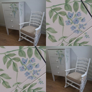 Drawers and rocking chair with handpainted and stencilled bespoke design
