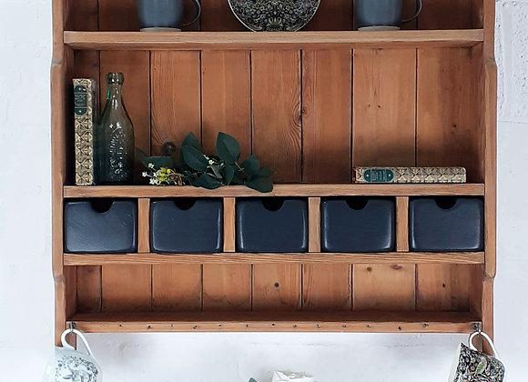 Vintage pine wall shelf with storage drawers