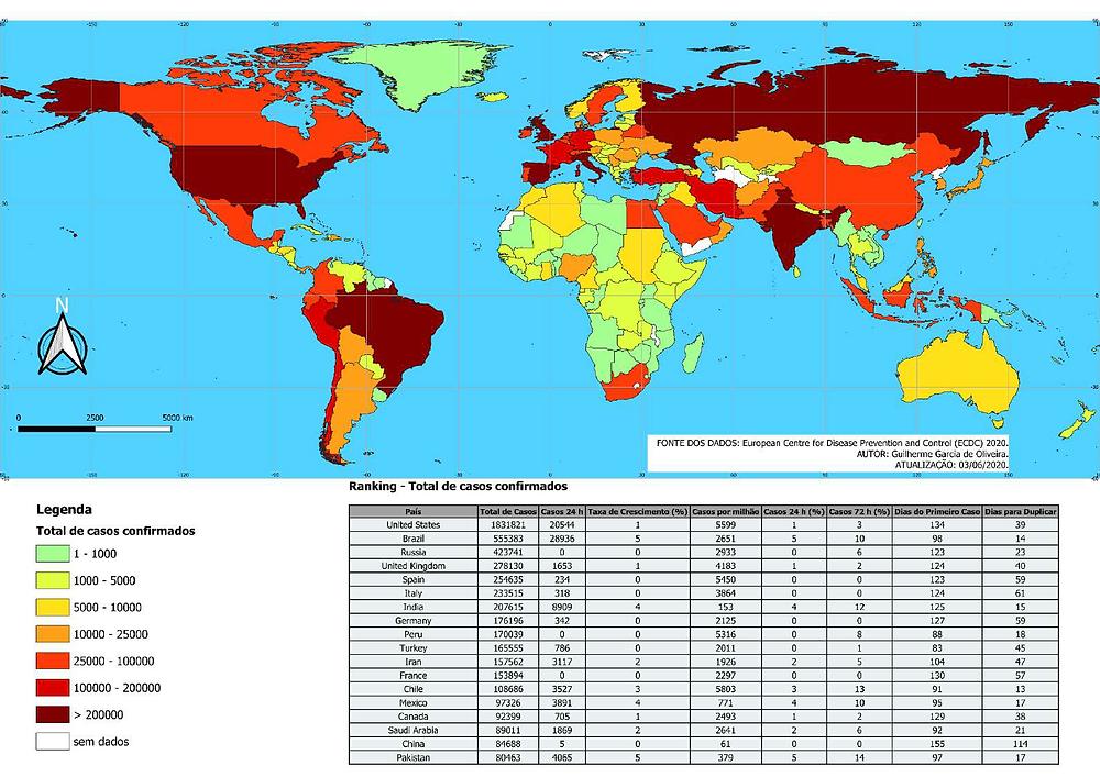 Total de casos no mundo em 03/06. Fonte: UFRGS