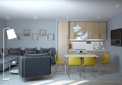 Жилой апартамент, кухня-гостиная