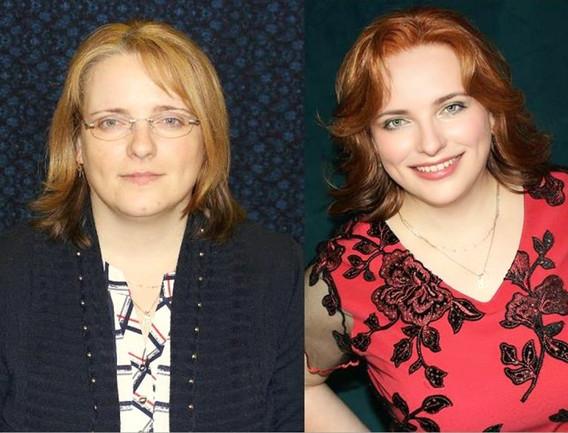 Jitka před a po v červených šatech TOPVE