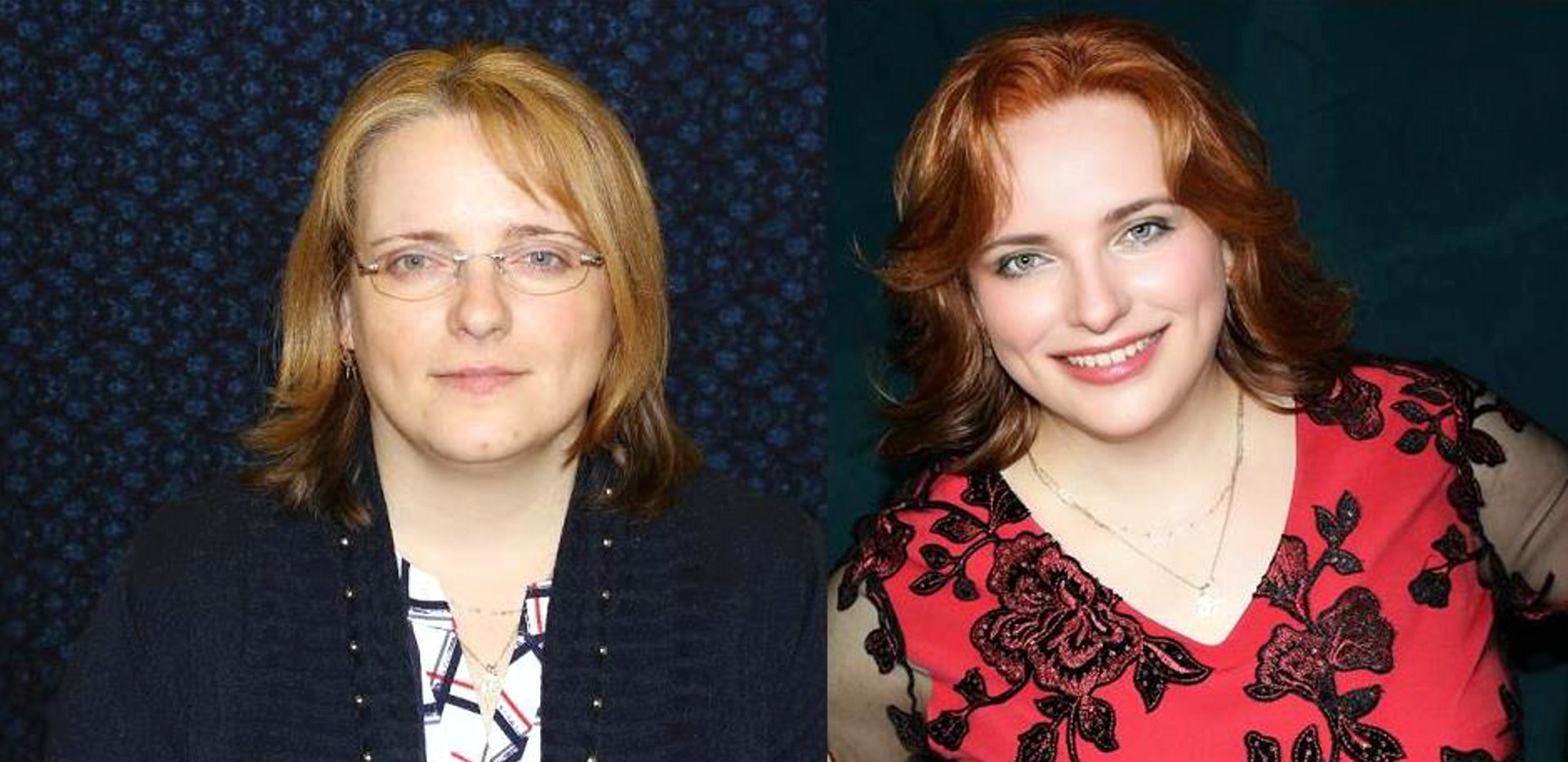Jitka před a po v červených šatech MAXI.