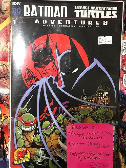 Batman Teenage Mutant Ninja Turtles Signed And Remarked By Ken Hauser DF