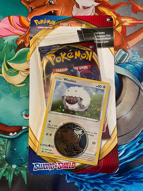 Pokémon wooloo sword and shield single booster with coin checklane