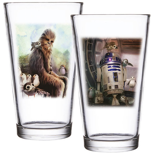 Star Wars The Last Jedi Pint Glass Set of 2 Porg R2D2 and chewbacca