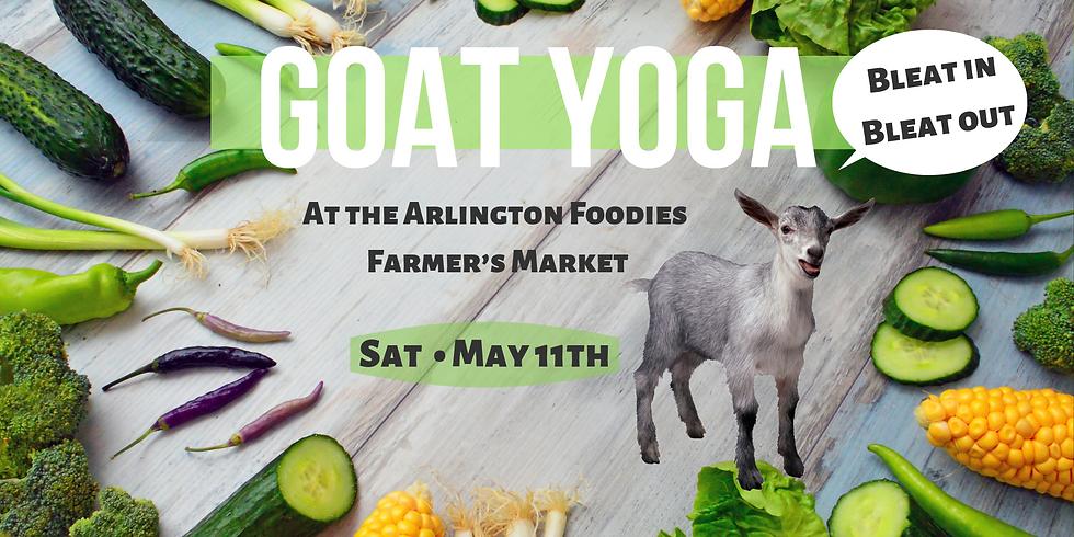 Goat Yoga at the Downtown Arlington Farmer's Market