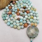 semi-precious bead Amazonite Sunstone Moonstone Agate beaded_necklace energy_stones handmade artisan_made Hand_knotted