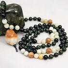 sem-precious-stone-beads dark_green_jade sunstone moonstone banded_agate handmade artisan_made hand_knotted mala