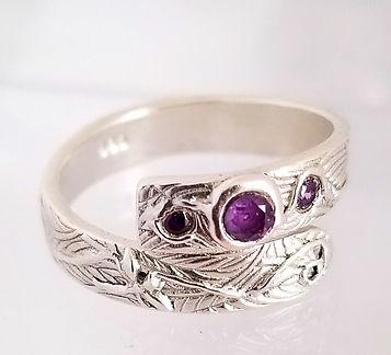 ring sterling silver metal clay gemstone handmade custom