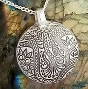 fine silver metal clay lentil bead pedant handmade Fine Silver metal clay Lentil bead pendant cremation memory jewelry pendant