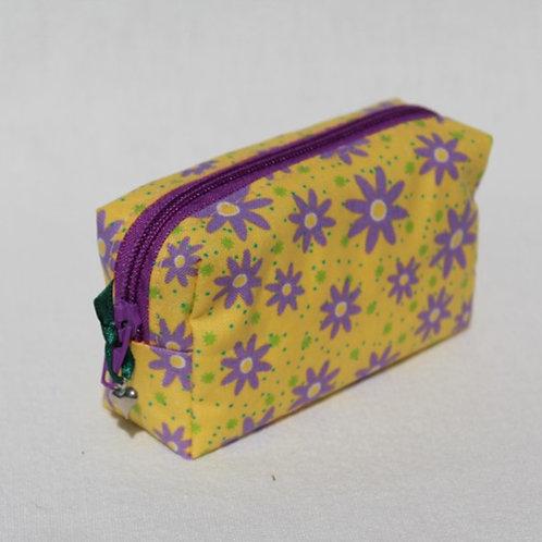 Mini-Etui 'Blümchen auf gelb' - RV lila