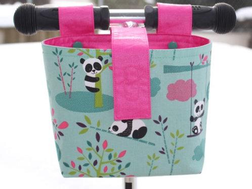 Lenkertasche 'Panda auf mint' - pink