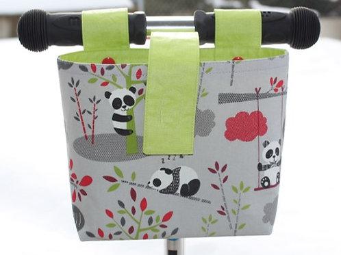 Lenkertasche 'Panda auf hellgrau' - hellgrün
