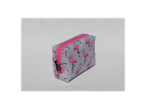 Mini-Etui 'Flamingo auf grau' - RV pink