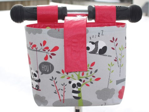 Lenkertasche 'Panda auf hellgrau' - rot