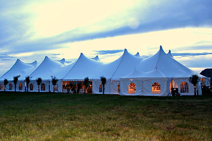 Stunning white pole tent with decorative trees and accent lights. Wyoming wedding planning and wedding rental