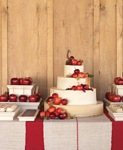 Apple accented cake with burlap adds fall flair.