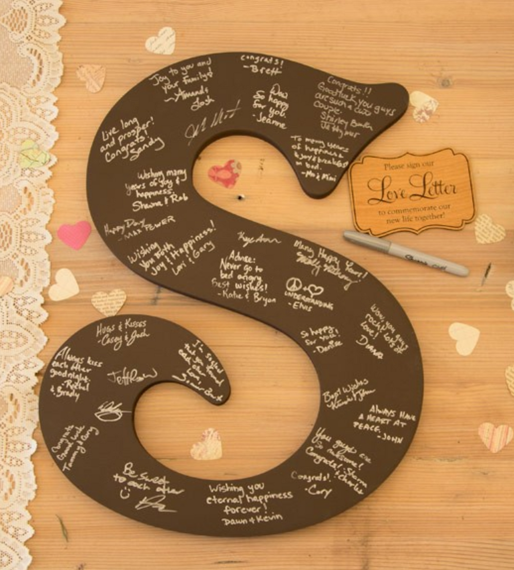 Single letter monogram guestbook
