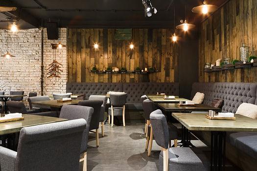 Cozy wooden interior of restaurant, copy