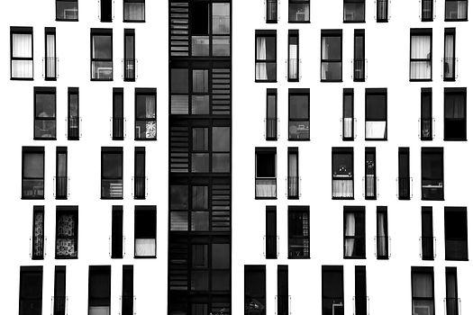 The photograph of a facade with symmetri