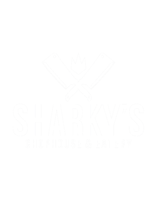 Sharky's New Logo White on black.png