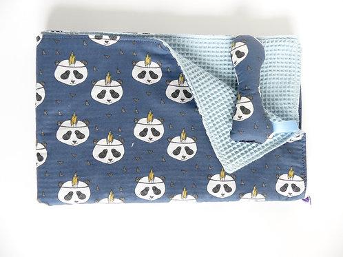 Manta pandas azulón