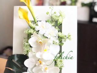 胡蝶蘭を使ったスタイリッシュなフレームフラワー