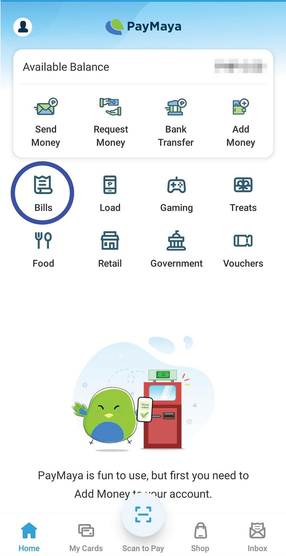 Make sure to have enough credit balance. Click Pay Bills