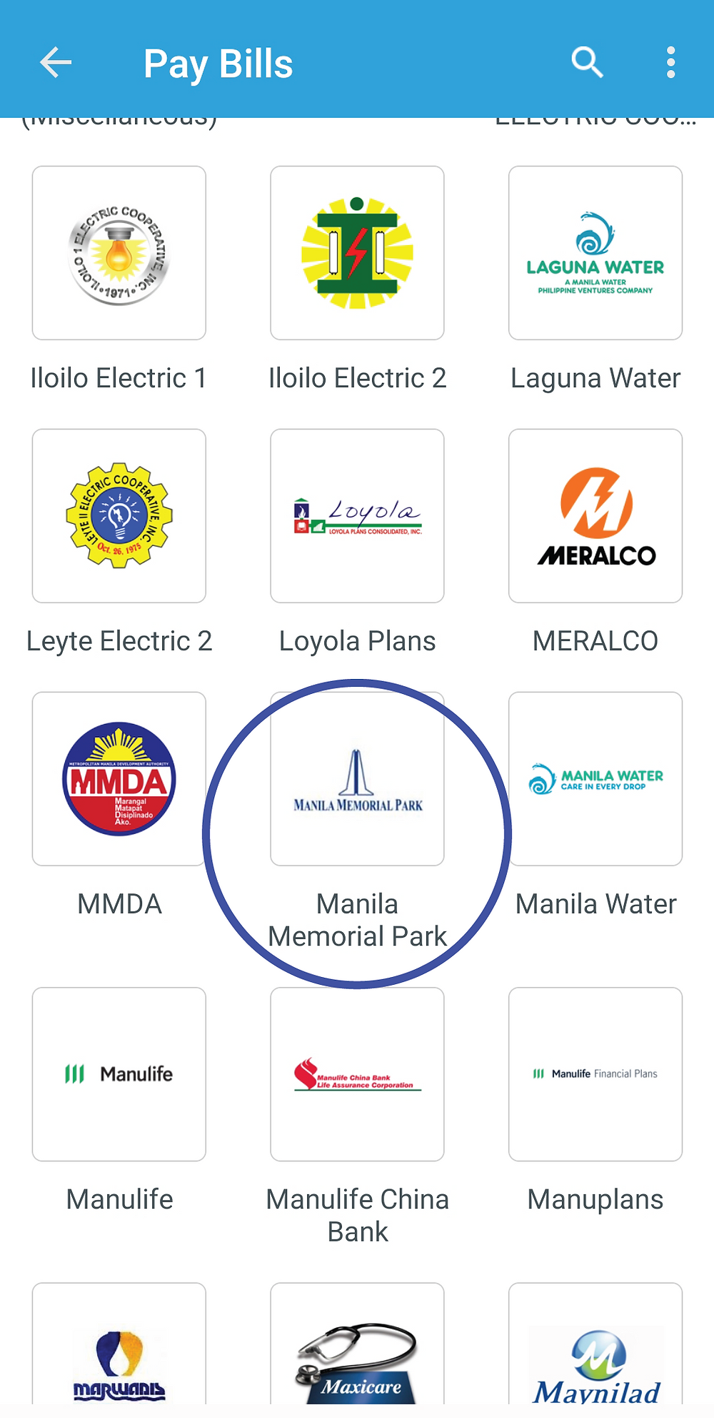 Look for Manila Memorial Park biller to pay your monthly installment