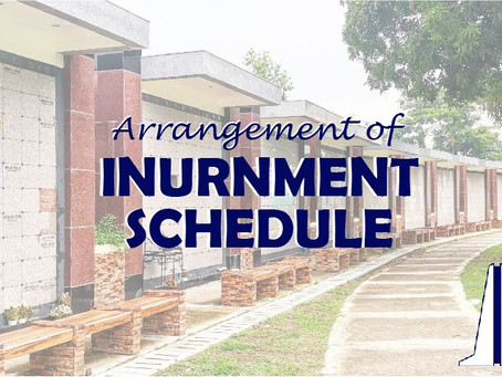ARRANGEMENT OF INURNMENT SCHEDULE