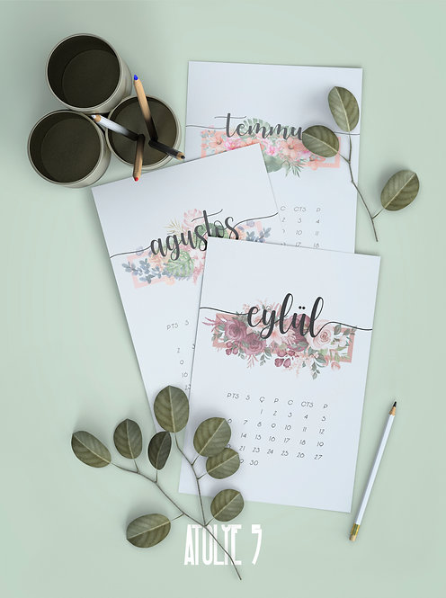 2021 TAKVİMİ / Floral / Ahşap Ayakl