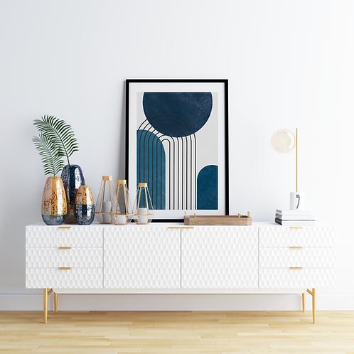 Lacivert-Mavi Geometrik Poster